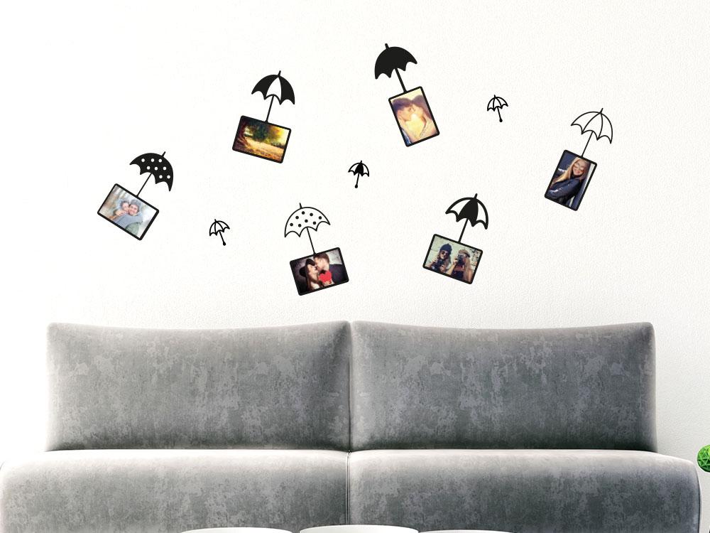 Wandtattoo Zusatzrahmen Set Fotorahmen Pusteblume Regenschirme im Wohnzimmer
