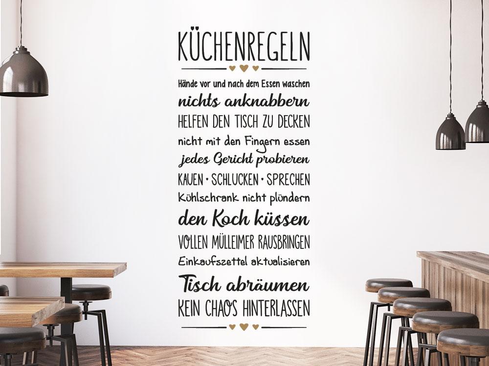 Wandtattoo Küchenregeln Wandbanner Kochzeile