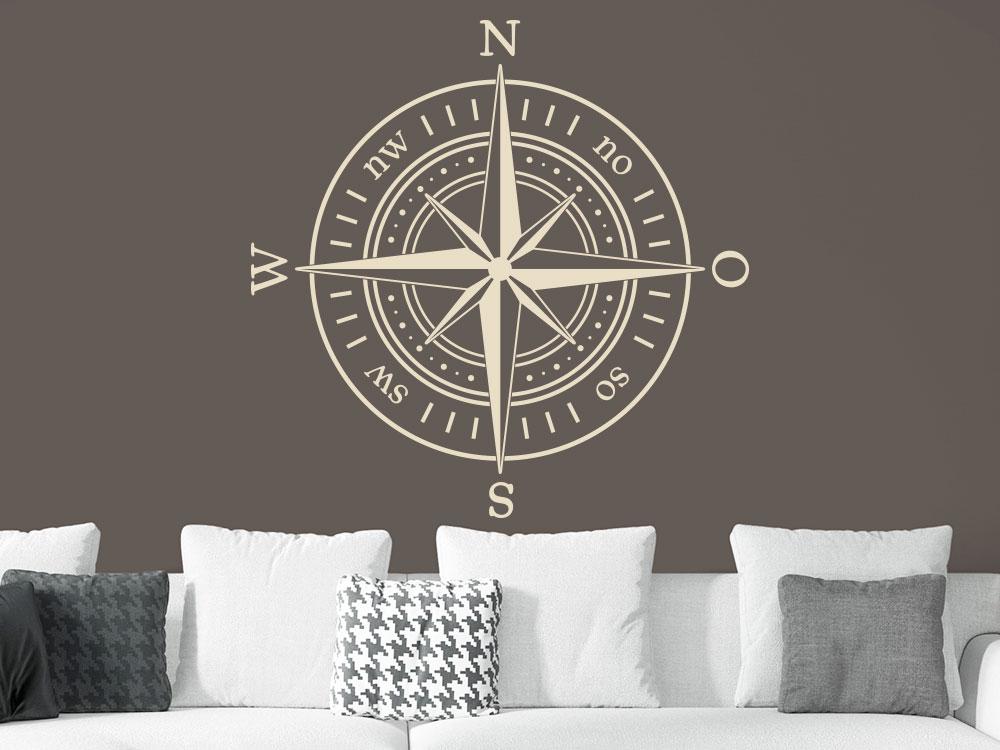 Wandtattoo Kompass mit Himmelrichtungen auf brauner Waohnzimmerwand