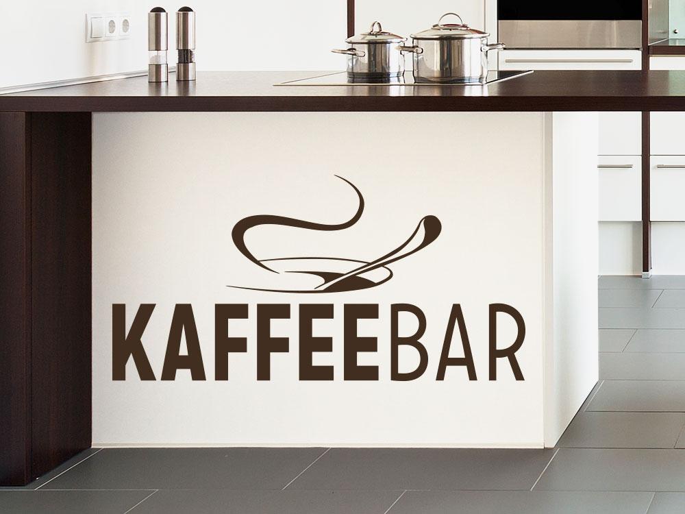 Kaffee Bar Wandtattoo mit Tasse auf Küchenblock