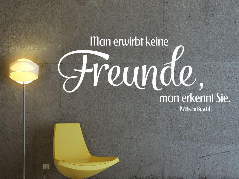 Wandtattoo Man erwirbt keine Freunde, man erkennt sie. - Wilhelm Busch
