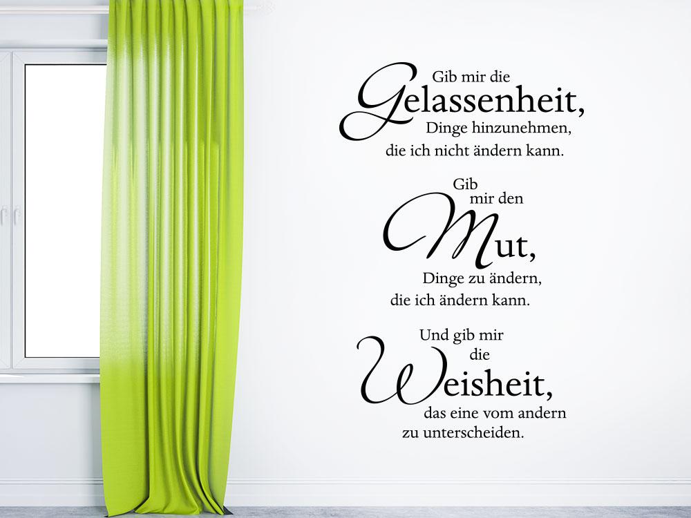 Gelassenheit Mut Weisheit Wandtattoo Spruch im Flur