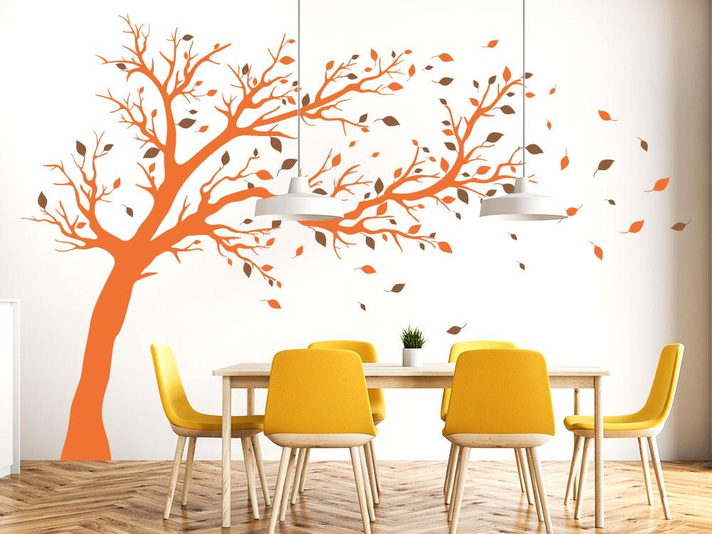 Wandtattoo Baum groß zweifarbig auf großer Küchenwand