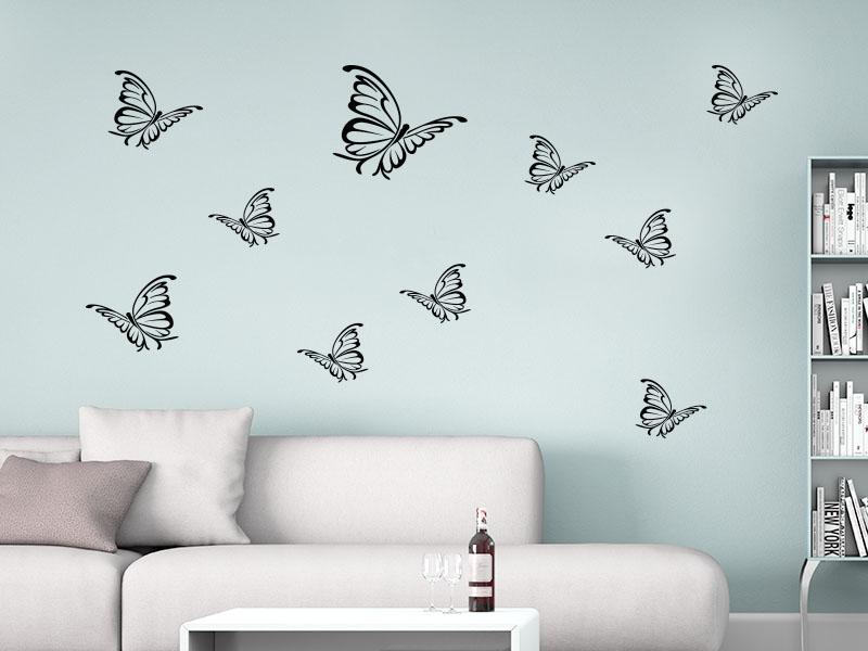 Wandtattoo Schmetterlingschwarm