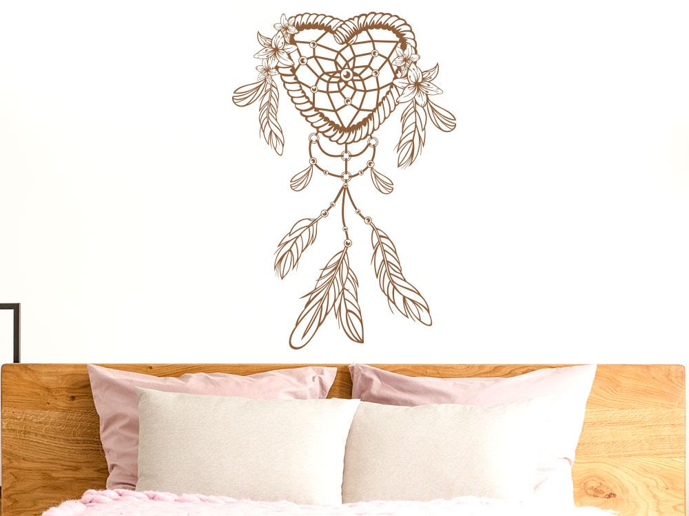 Traumfänger Wandtattoo Ornament Herz im Schlafzimmer
