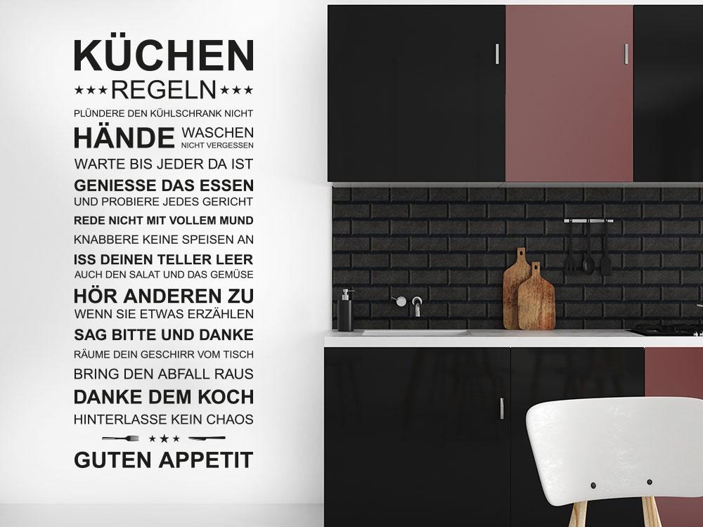 Küchenregeln Wandtattoo neben Küchenzeile