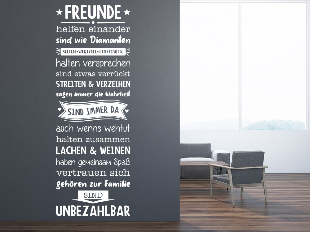 Wandtattoo Spruch Freunde Banner im Flur