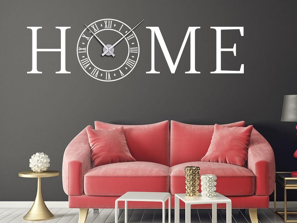 Wandtattoo Uhr Home mit altrömischen Ziffern im Wohnzimmer