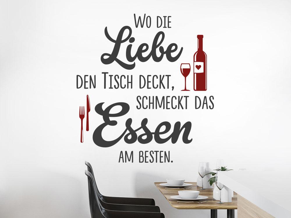 Zweifarbiges Wandtattoo Wo die Liebe den Tisch deckt Küchenspruch
