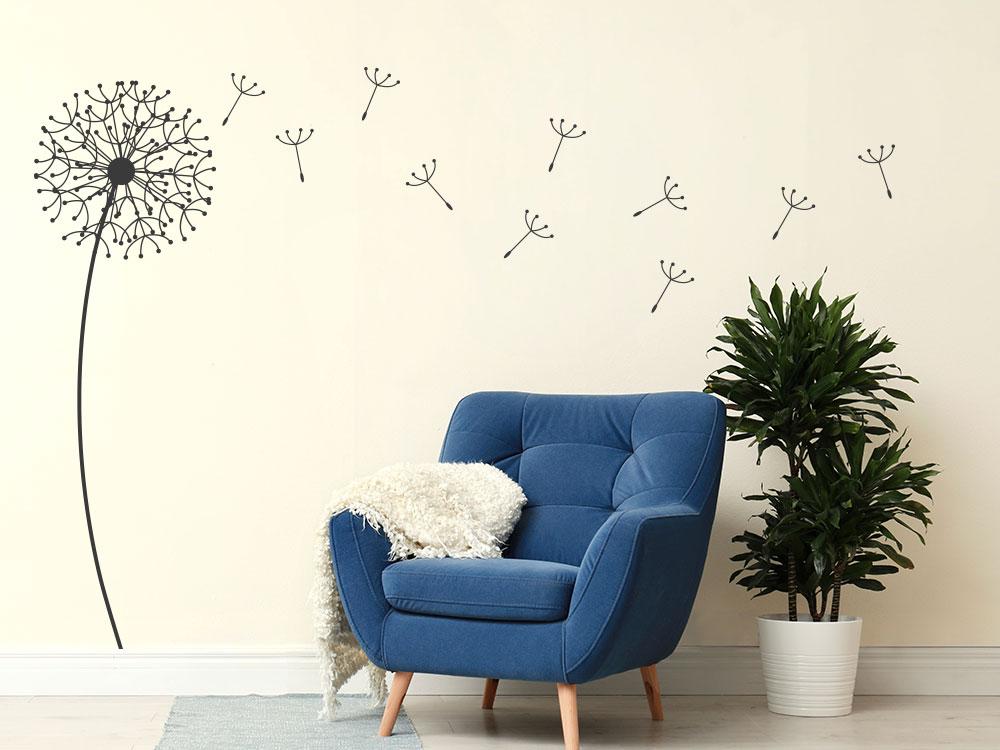 Einzelne Wandtattoo Design Pusteblume im Wohnbereich