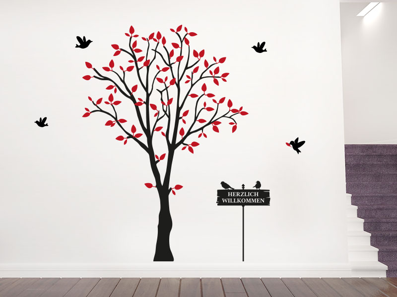 wandtattoo baum mit schild. Black Bedroom Furniture Sets. Home Design Ideas