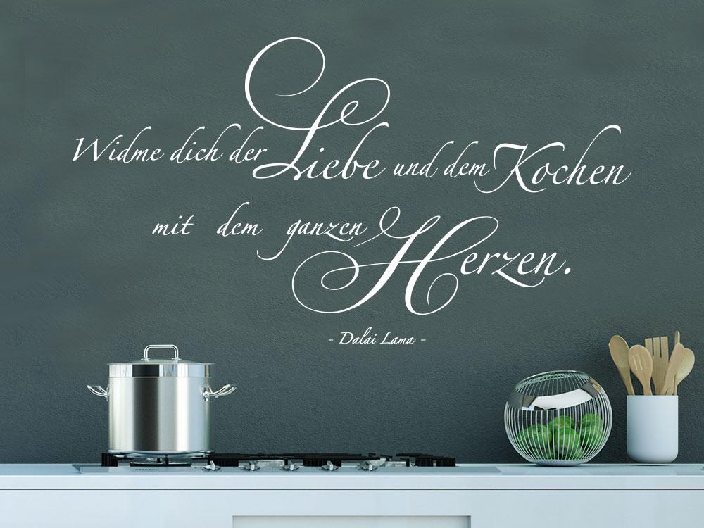 Wandtattoo Widme dich der Liebe und dem Kochen mit dem ganzen Herzen Wandzitat in Küche