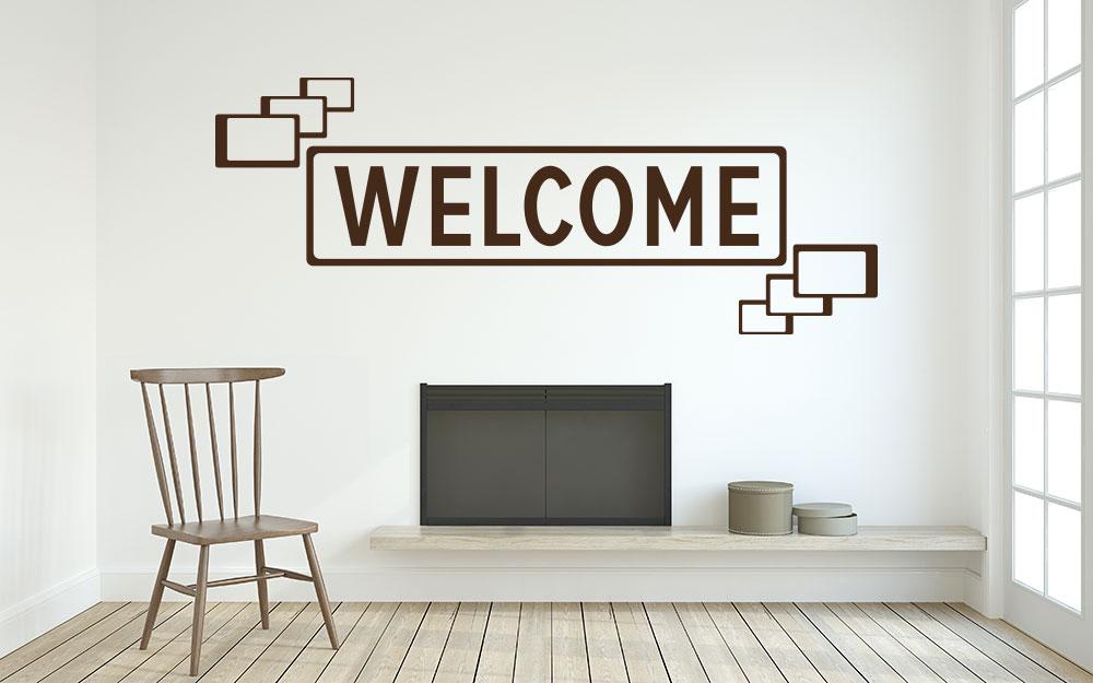 Wandtattoo Welcome Retro im Eingangsbereich