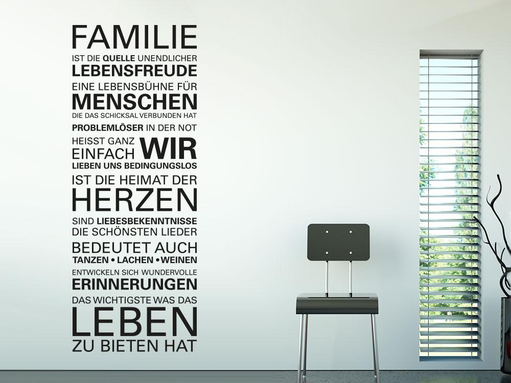 Wandtattoo Spruch Wir lieben uns bedingungslos im Familienwohnzimmer