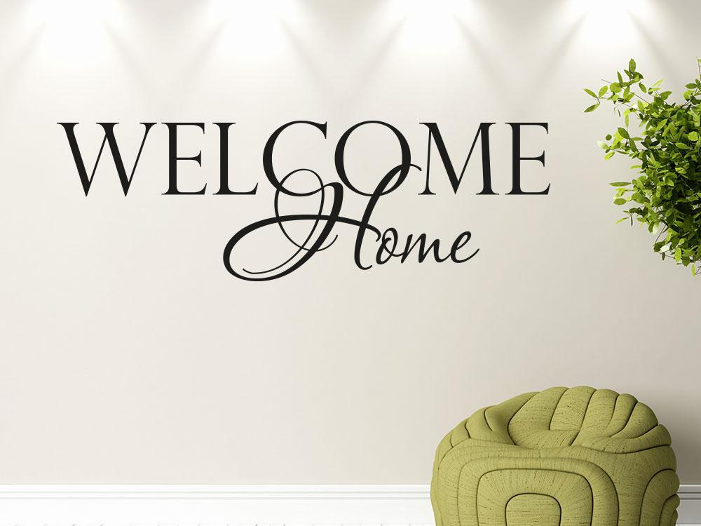Wandtattoo Welcome Home verschnörklet im Eingang