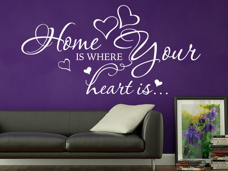 Wandtattoo Home is where your heart is.