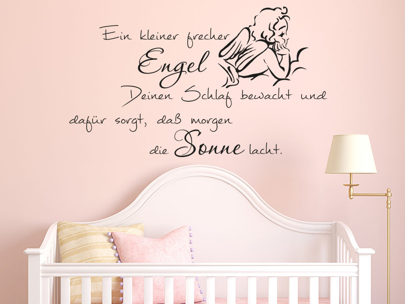 wandtattoos baby ein kleiner frecher engel wandtattoo. Black Bedroom Furniture Sets. Home Design Ideas