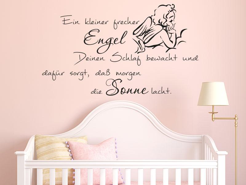 Wandtattoo Ein kleiner frecher Engel deinen Schlaf bewacht und dafür sorgt, dass morgen die Sonne l