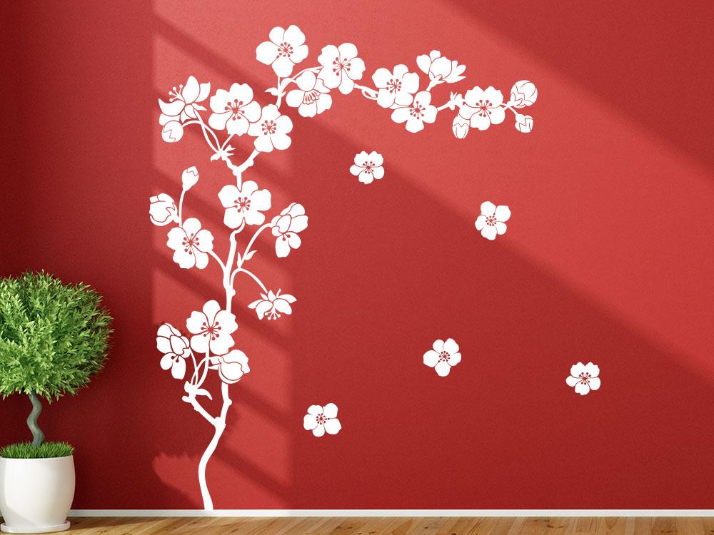 Wandtattoo Kirschblüten in der Farbe Weiß
