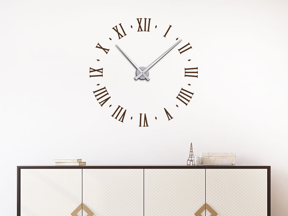 Wandtattoo Uhr Ziffernblatt altrömisch Schreibweise im Wohnzimmer