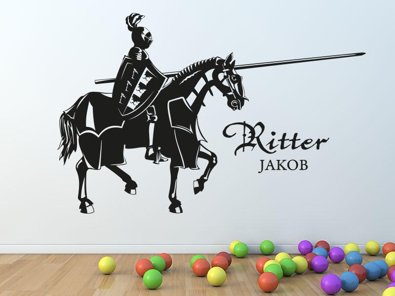 Wandtattoo Kinderzimmer  - Ritter mit Pferd und Namen