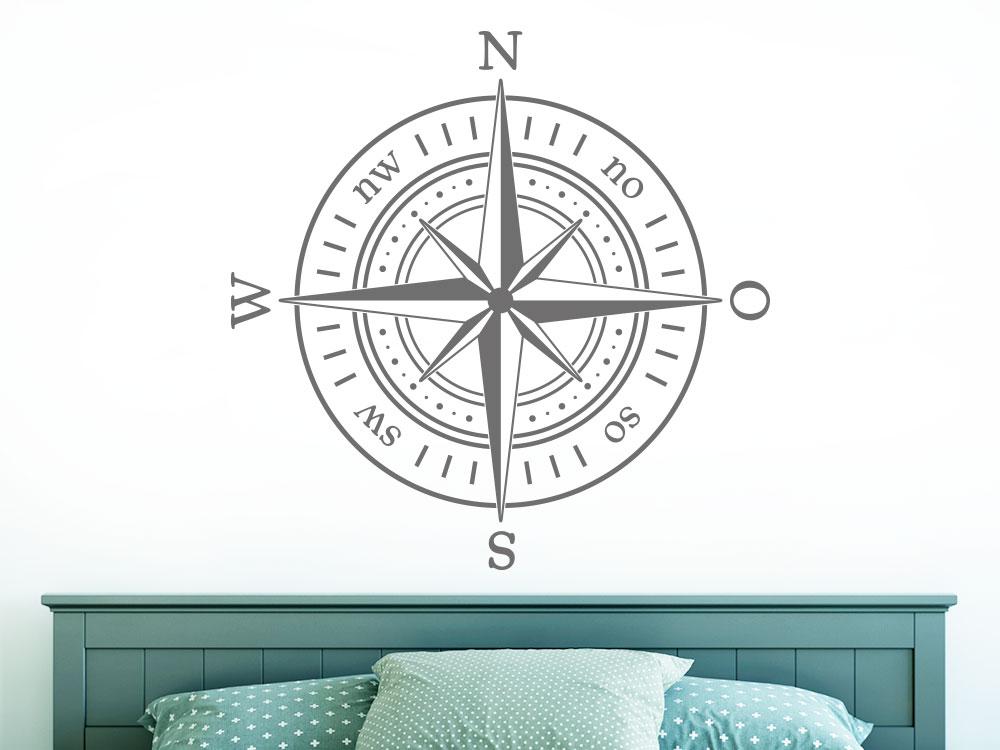 Wandtattoo Kompass im Schlafzimmer helle Wand
