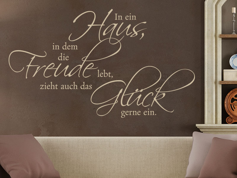 wandtattoo in ein haus spruch von klebeheld de. Black Bedroom Furniture Sets. Home Design Ideas