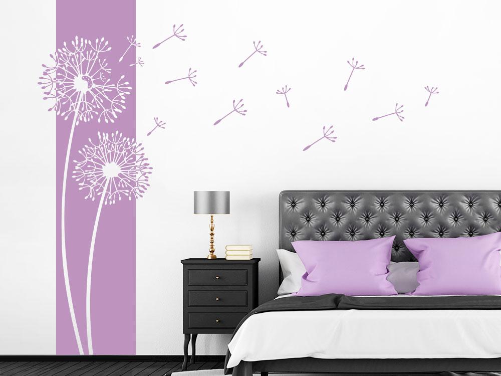 Pusteblume Wandtattoo Banner im Schlafzimmer