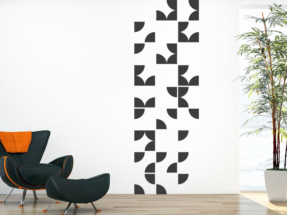 Wandtattoo Banner Teilkreise auf heller Wand
