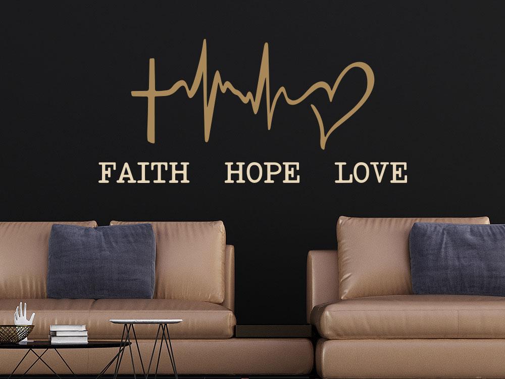 Zweifarbiges Wandtattoo Glaube Hoffnung Liebe mit Zeichen