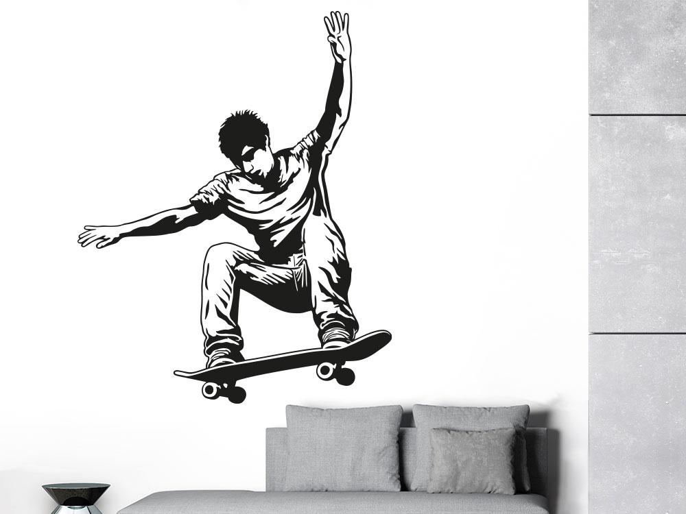 Skater Wandtattoo mit Skateboard im Jugendzimmer