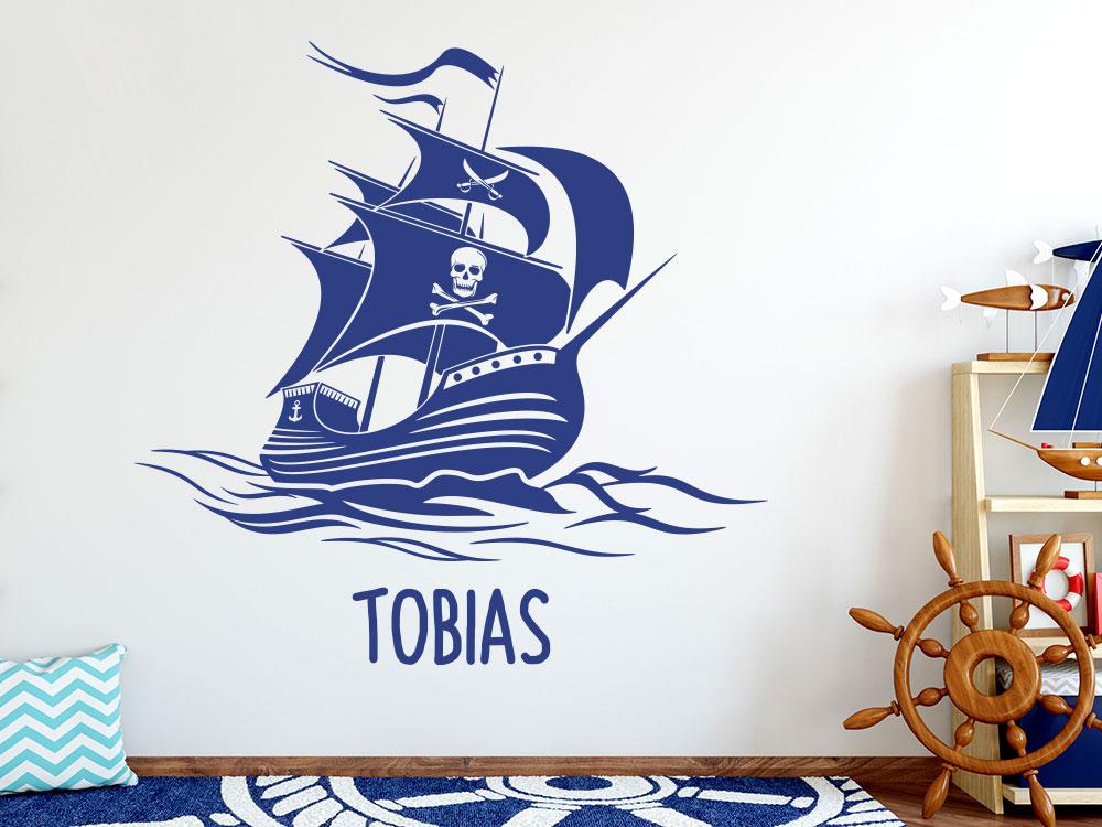 Wandtattoo Piratenschiff mit Name
