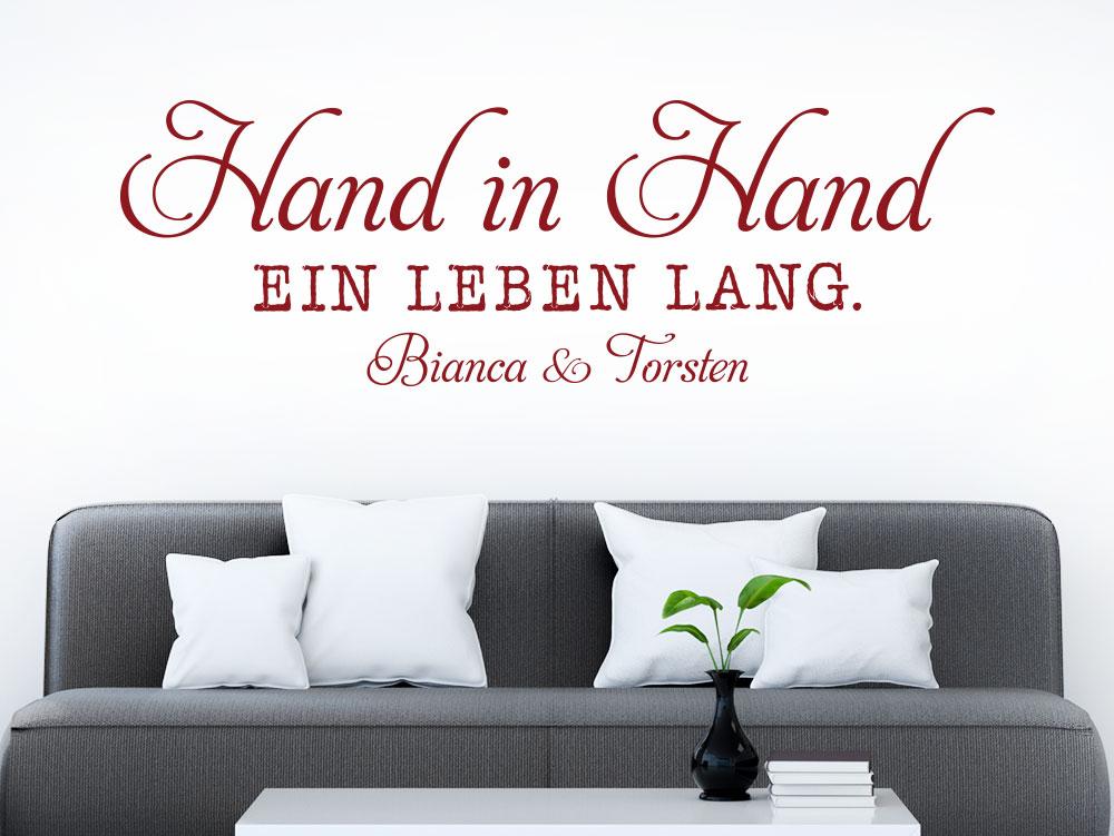 Wandtattoo Hand in Hand ein Leben lang Wunschnamen auf heller Wand