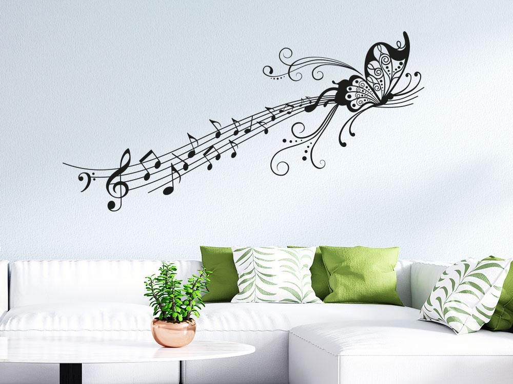 Musik Wandtattoo Schmetterling auf Notenlinie mit Noten und Ornament