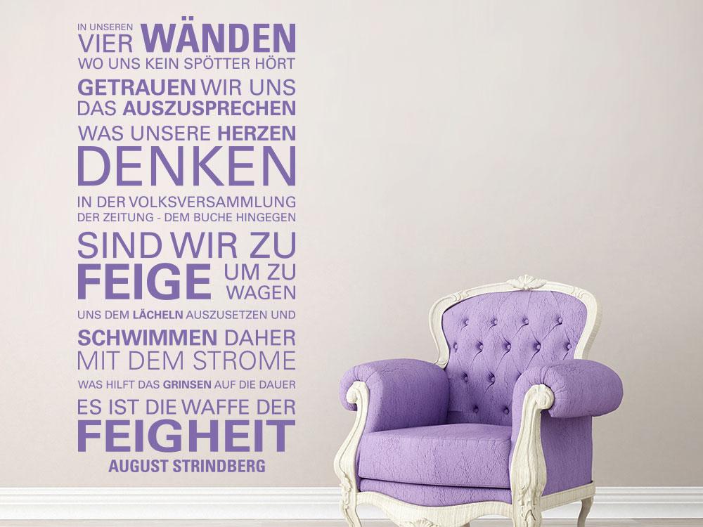 Wandtattoo Zitat In unseren vier Wänden - August Strindberg