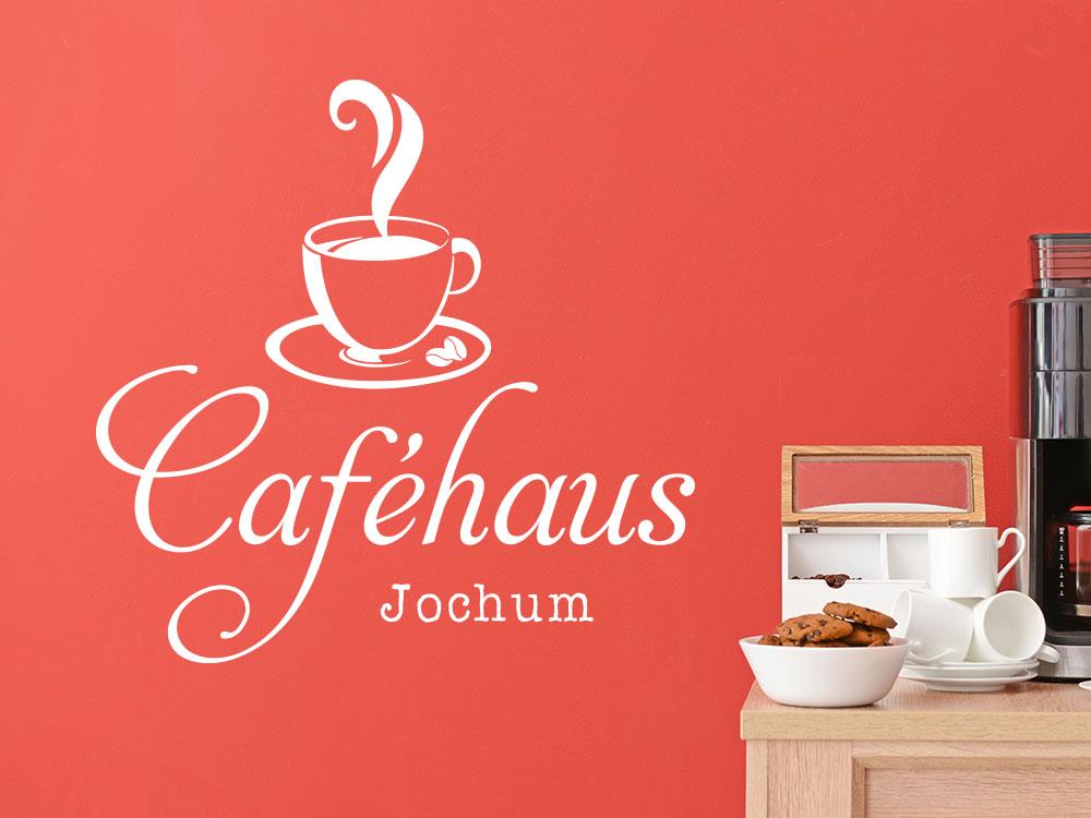 Kaffeehaus Wandtattoo mit Name
