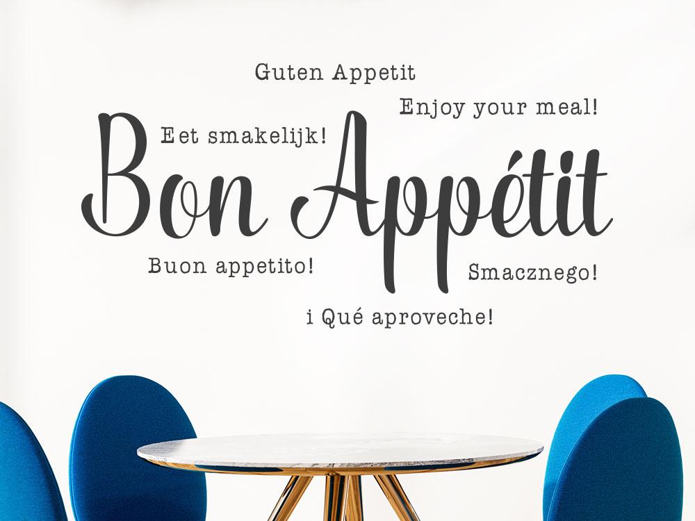 Wandtattoo Bon Appétit Wortwolke Essbereich
