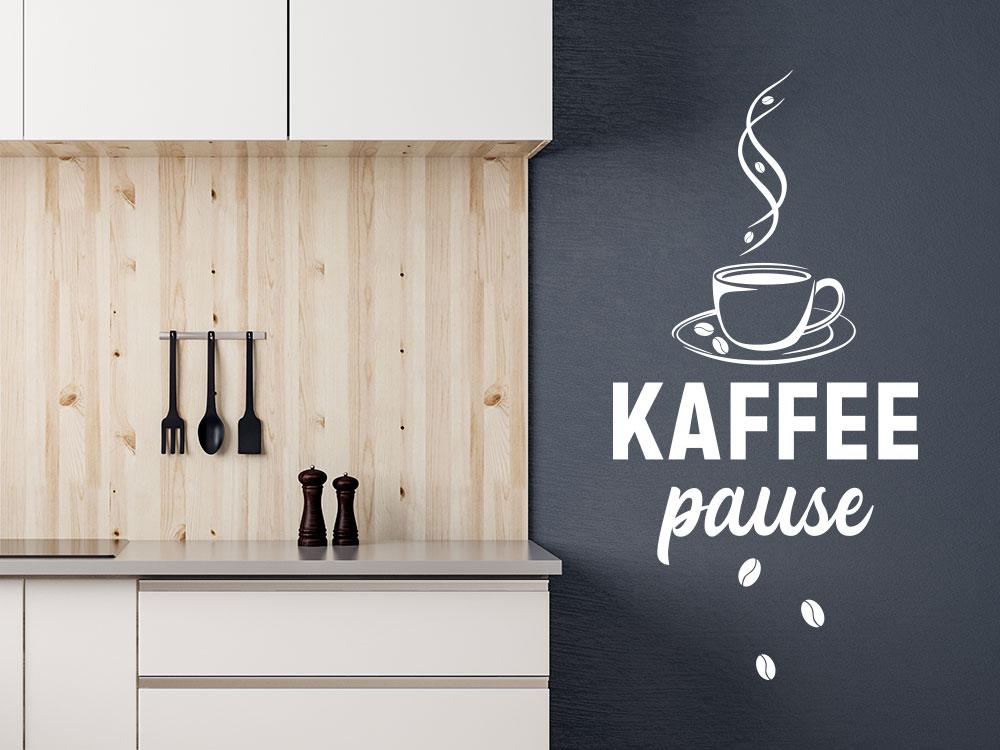 Wandtattoo Cafépause mit dampfender Kaffeetasse