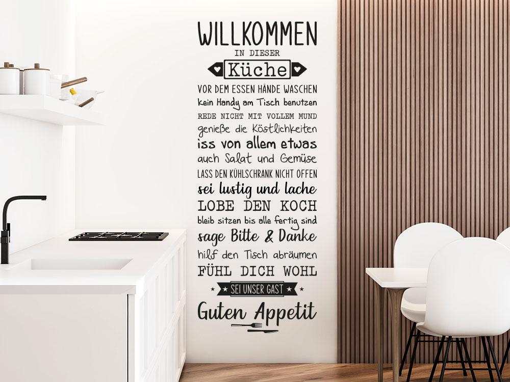 Willkommen In dieser Küche Wandtattoo neben Spülbecken