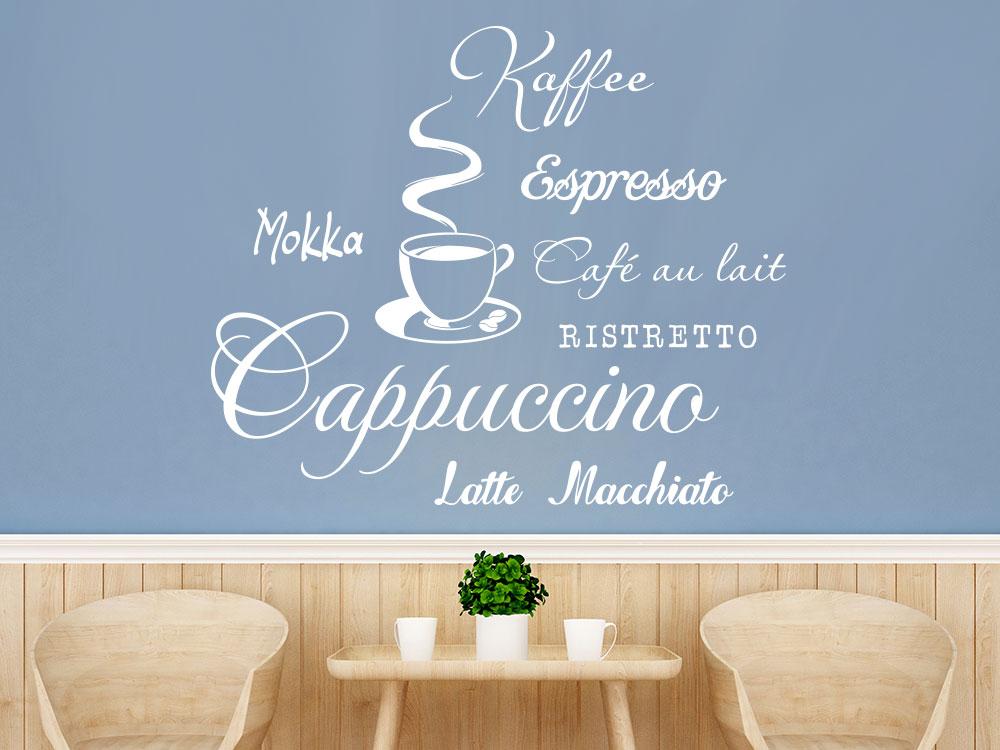 Kaffee Wandtattoo mit Tasse
