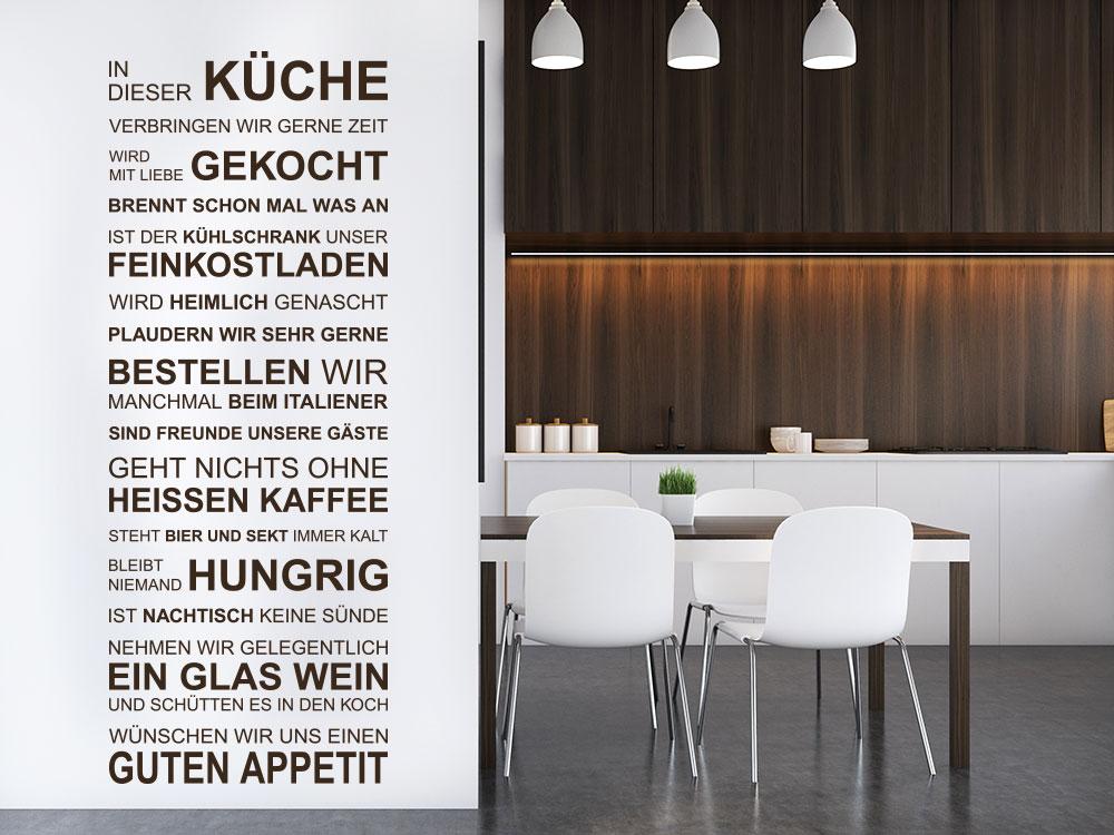 Wandtattoo Wandbanner In dieser Küche neben Esstisch