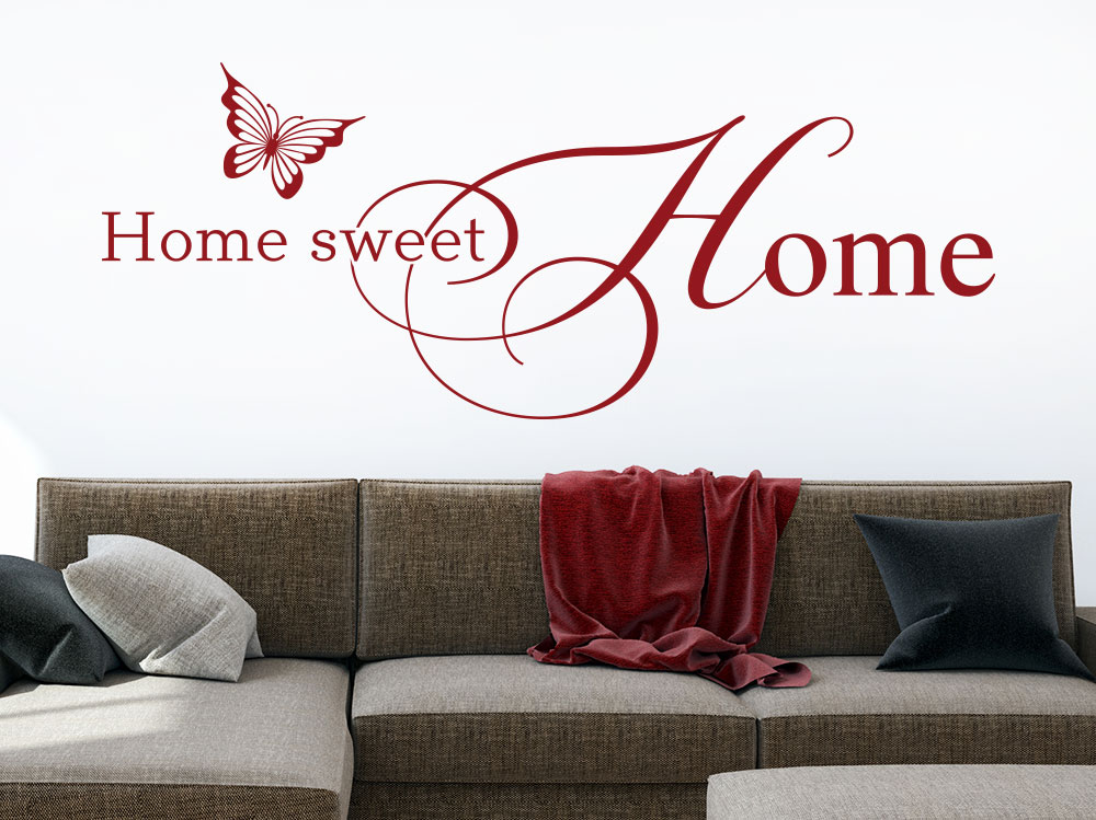 Wandtattoo Home Sweet Home No.3 in der Farbe rot