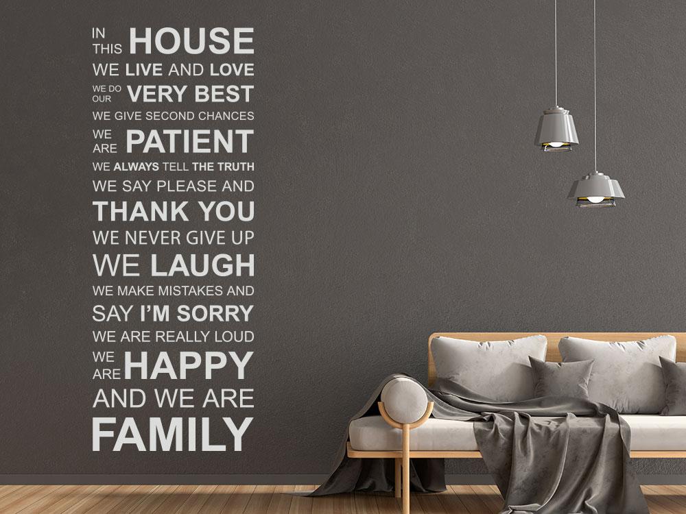Wandtattoo In this house englischer Spruch