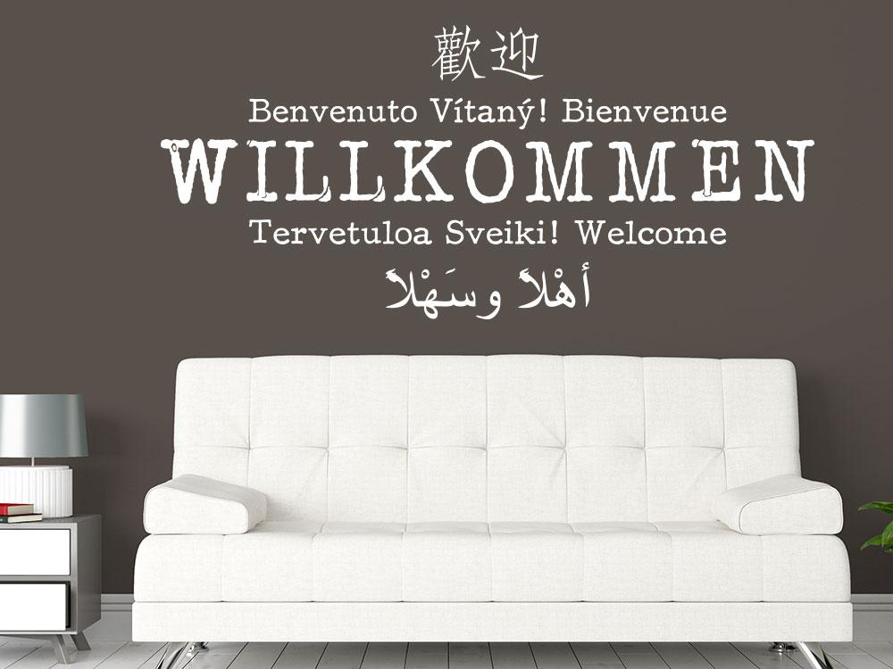Wandtattoo Willkommen multikulturelle Sprachen