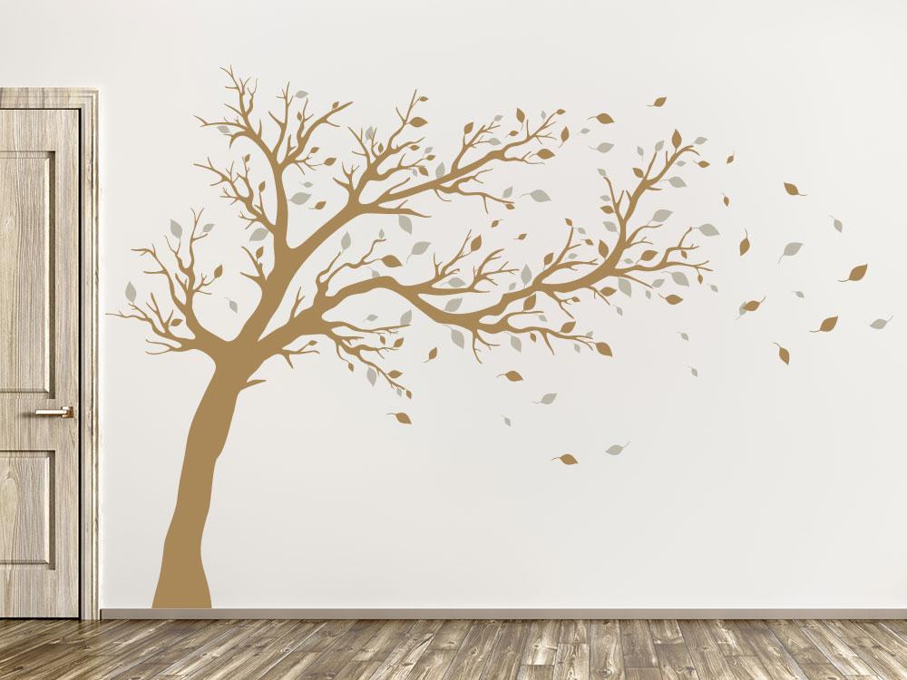 Wandtattoo großer zweifarbiger Baum hellbraun / sandgrau