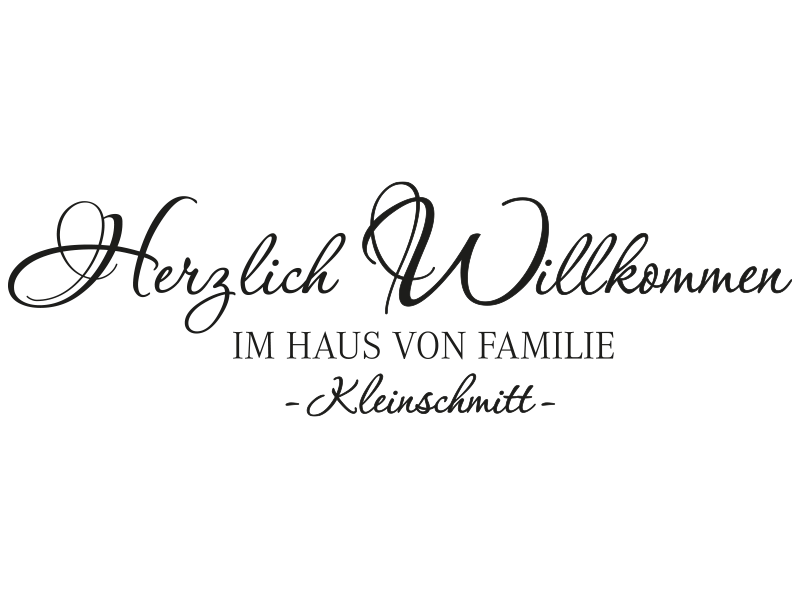 wandtattoo herzlich willkommen im haus von familie wunschnamen. Black Bedroom Furniture Sets. Home Design Ideas