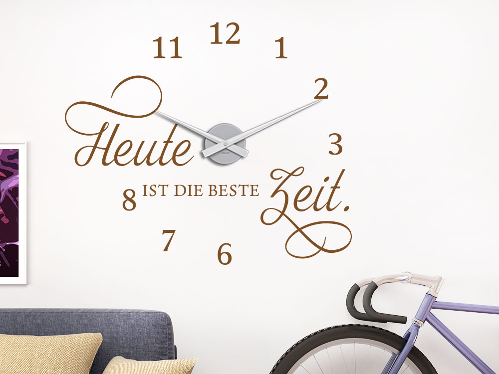 wandtattoo uhr beste zeit von klebeheld de. Black Bedroom Furniture Sets. Home Design Ideas