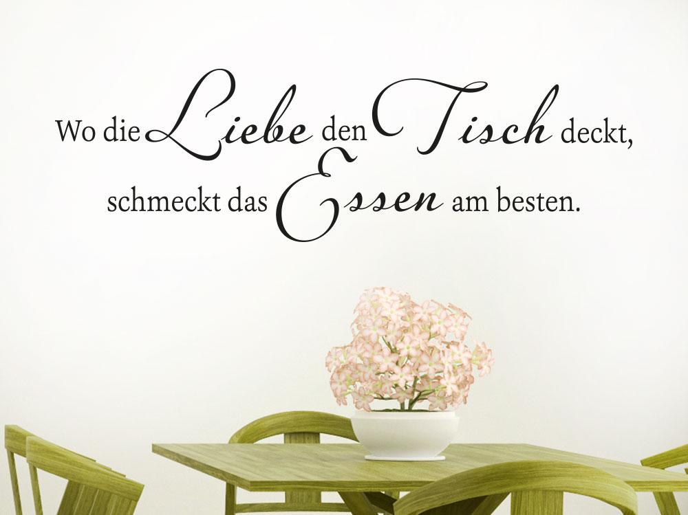 Wandtattoo Wo die Liebe den Tisch deckt, schmeckt das Essen am besten. Schriftzug in dunkler Farbe