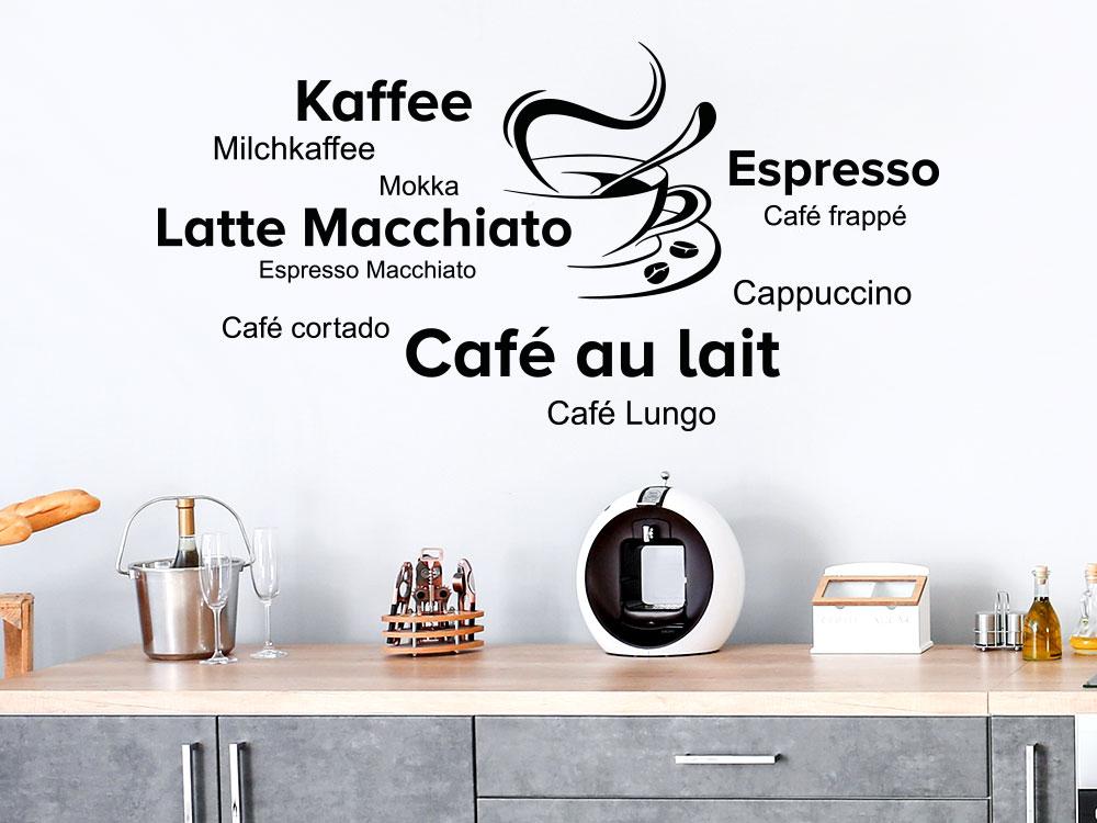 Kaffee Spezialitäten Wandtattoo in einer Küche