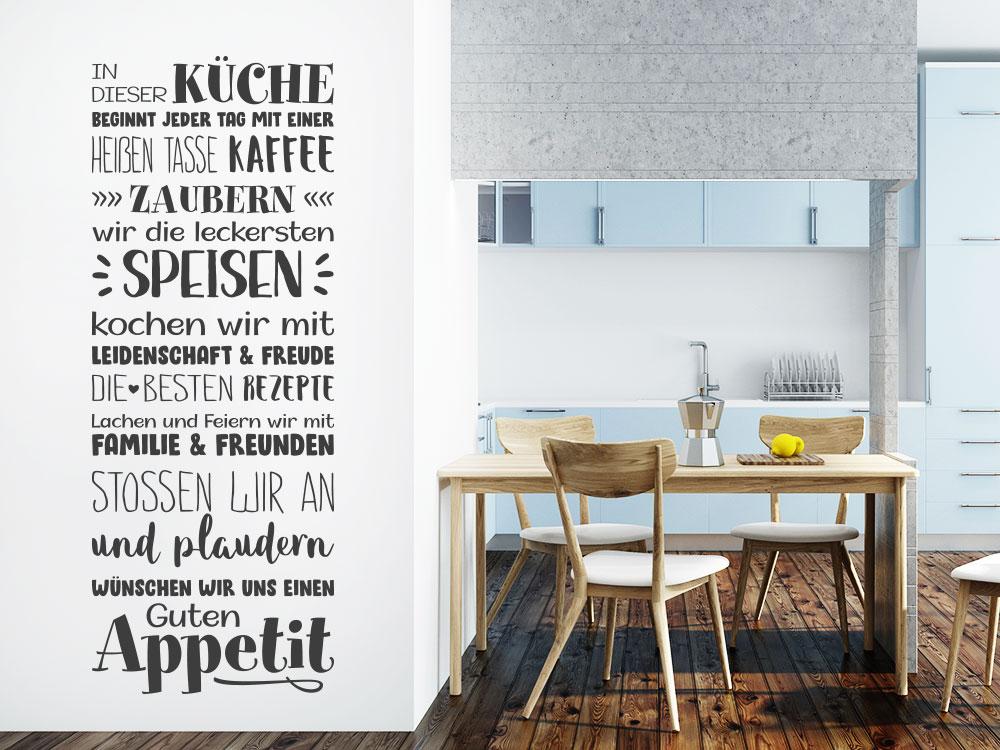 Wandtattoo In dieser Küche beginnt